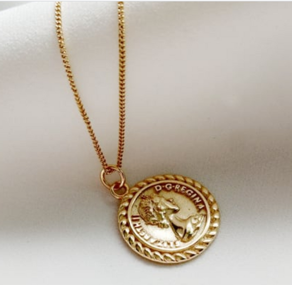 14K Gold Plated - Victoria Coin Necklace