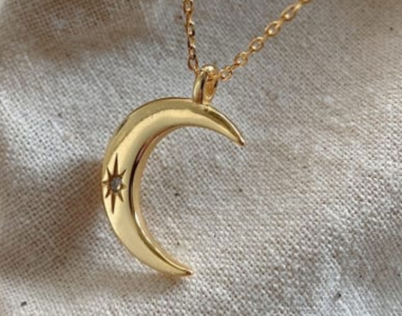 14K Gold Plated - Moon Light Crystal Necklace