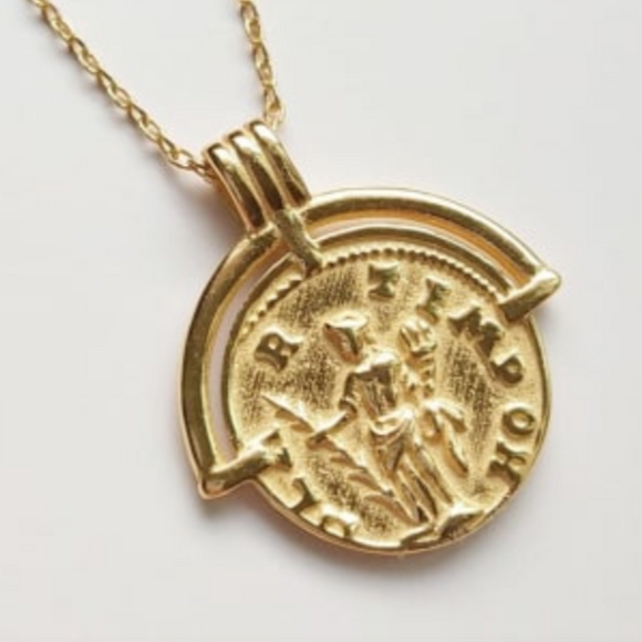 14K Gold Plated - Florence Coin Necklace