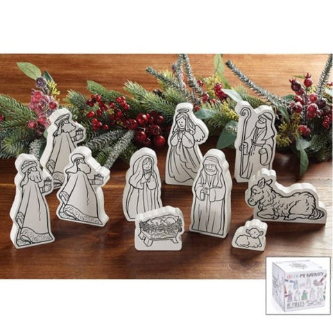 Picture of 10 Piece Color Your Own Nativity Set