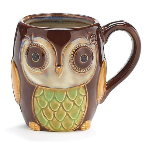 Picture of 12 oz. Porcelain Chocolate Brown Owl Mug/Cup - 6 Pack