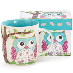 12 oz. Whimsical Calico Owl Bone China Coffee Mug