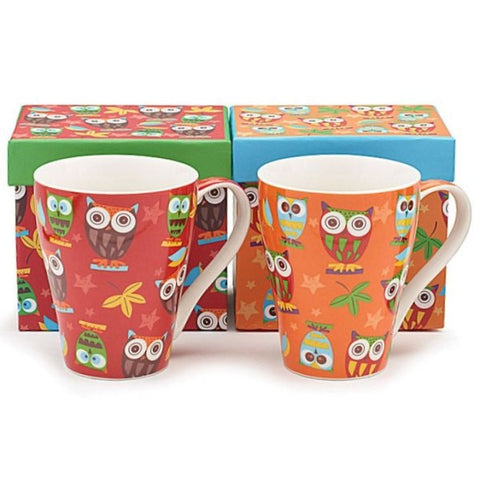 Picture of 12 oz. Whimsical Calico Owl Bone China Cup Sets - Pack  of 3 Sets