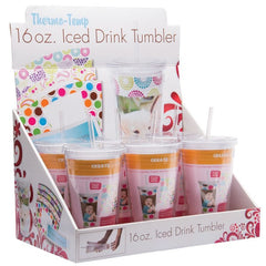 16 oz. Acrylic Tumblers with Straw - 6 Pack