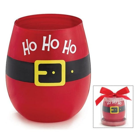 Picture of 16 oz. Ho Ho Ho Santa Belt Stemless Wine Glass