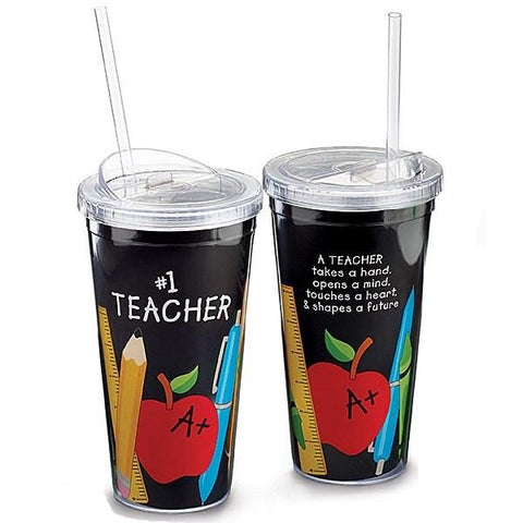 Picture of #1 Teacher 20 oz. Acrylic Travel Cup with Straw - 6 Pack
