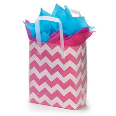 White Chevron Tote Bags - 10 Pack