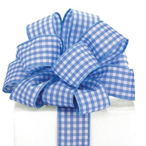 Picture of #9 Blue Gingham Wired Ribbon