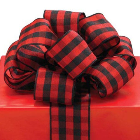 Picture of #9 Red/Black Plaid Wired Ribbon