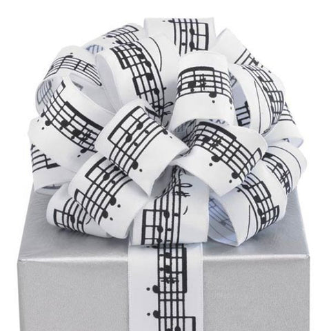 Picture of #9 Sheet Music White/Black Wired Ribbon