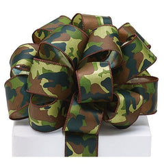 #9 Camouflage Satin Wired Ribbon
