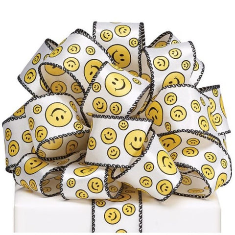 Picture of #9 Smiley Face Wired Satin Ribbon