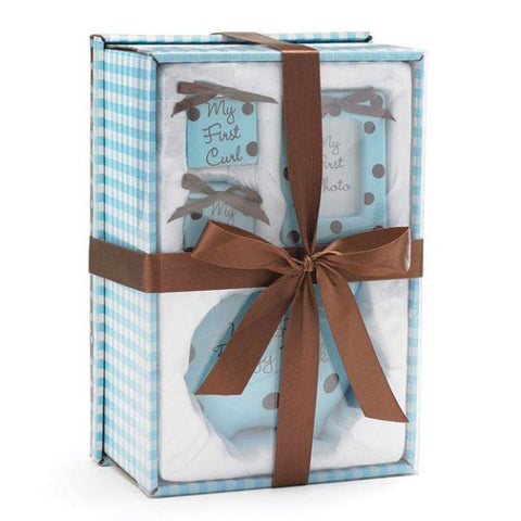 Picture of Baby Boy Blue/Brown Dots Gift Set