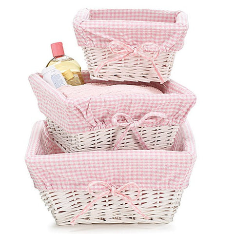 Picture of Baby Girl Nursery Storage White Willow Baskets - 3 pc Set