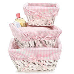 Baby Girl Nursery Storage White Willow Baskets - 3 pc Set