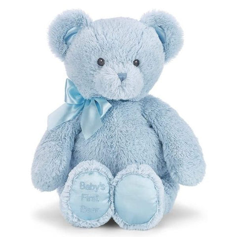 "Picture of Baby's First Bear Plush Stuffed Animal 12"" Blue Teddy"