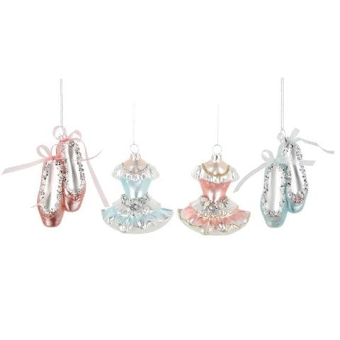 Picture of Ballet Dress and Shoes Assorted Ornament 4 Piece Set - Pack of 2 Sets