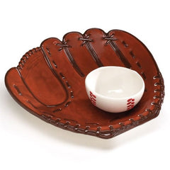 Baseball Glove and Ball Sports Serving Chip and Dip Set