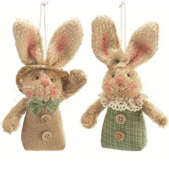 Beige Spring Bunny Rabbit Plush Ornaments - 2 pc Set