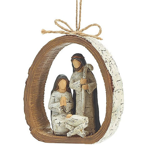 Picture of Birch Bark Ring Holy Family Ornament - Pack of Dozen