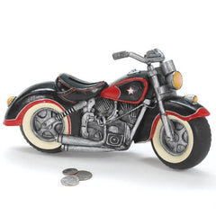 Black & Red Motorcycle Shaped Piggy Bank