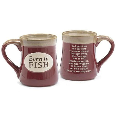 "Picture of ""Born to Fish"" Burgundy 18 oz. Coffee Mug with Fisherman's Serenity Prayer"