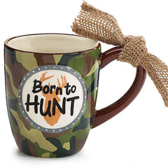 """Born to Hunt"" 16 oz. Camouflage Hunter Ceramic Coffee Mugs - 4 Pack"