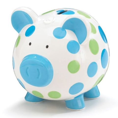 Picture of Boys Blue & Green Ceramic Polka Dot Piggy Bank