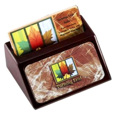Picture of Wooden Business Card Holder with Aluminum Name Plate