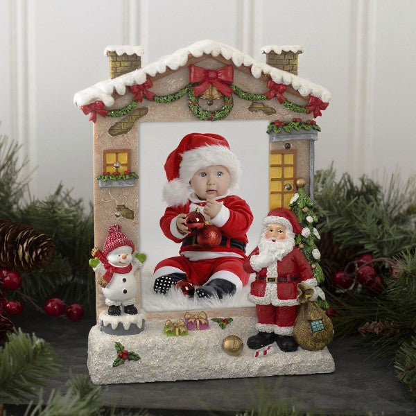 Christmas Light Up Snowman And Santa Claus Resin Picture Frame