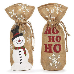 Christmas Linen Burlap Wine Bottle Bags - 2 pc Set