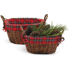 Christmas Willow Baskets with Plaid Lining