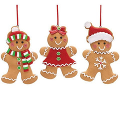 Clay Dough Gingerbread Cookie Ornaments - 3 pc Set