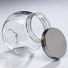 Clear Glass Jar with Silver Metal Lid - 4 Pack