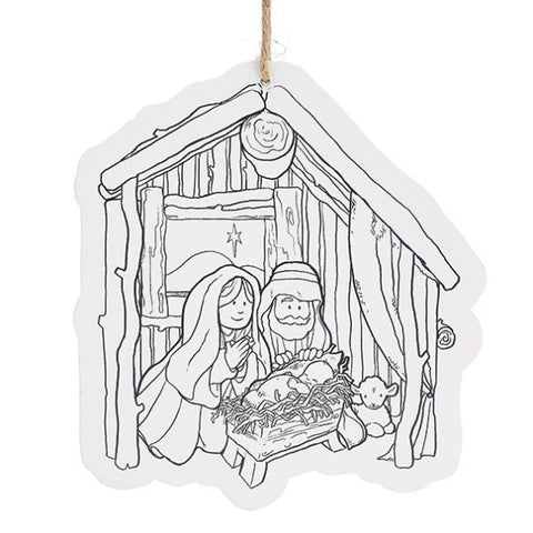 Picture of Color Your Own Manger Scene Ornaments - 12 Pack
