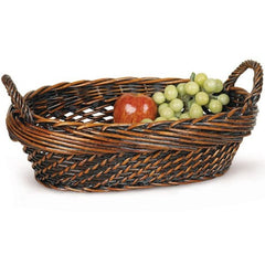 Dark Stained Willow Basket Tray