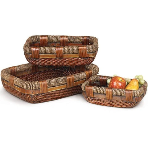 Picture of Dark Stained Jute Rope Willow Basket Trays - 3 pc Set