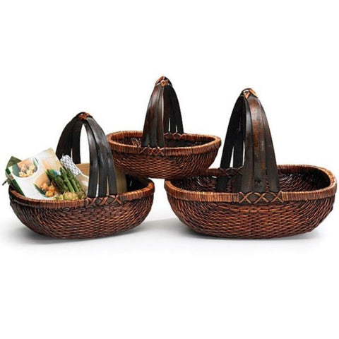 Picture of Dark Stained Willow Baskets with Handle - 3 pc Set
