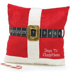 Days Til Christmas Countdown Throw Pillow with Santa Clause Belt