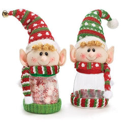Elf Candy Jars with Bell on Hat - Set of 2
