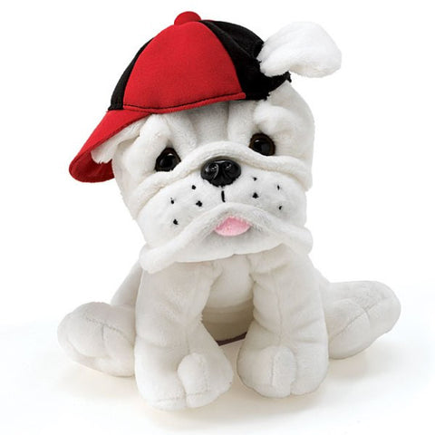 Picture of Eugene-White Plush Bulldog Puppy With Baseball Hat - 3 Pack