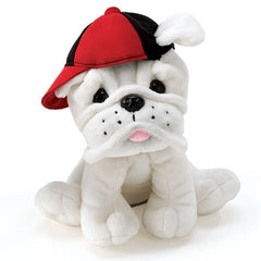 Eugene-White Plush Bulldog Puppy With Baseball Hat