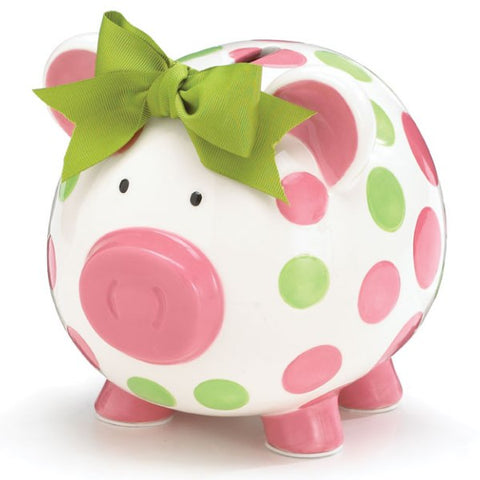 Picture of Girls Pink & Green Ceramic Polka Dot Piggy Bank