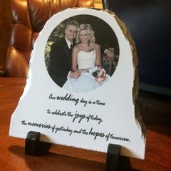 Half Oval Stone Photo Slate Plaques