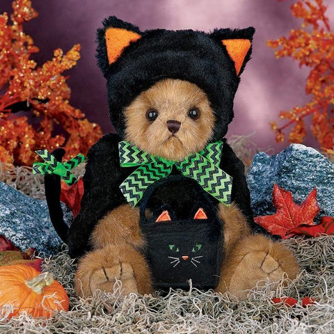 Picture of Halloween Plush Teddy Bear Midnight Magic in Black Cat Outfit
