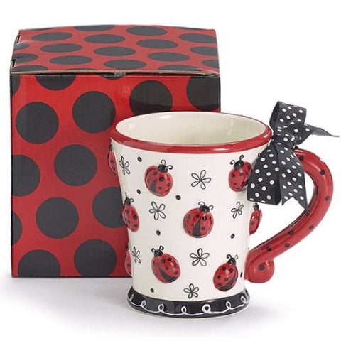 Picture of Hand-painted 10 oz. Ceramic Mug with Raised Ladybugs - 4 Pack