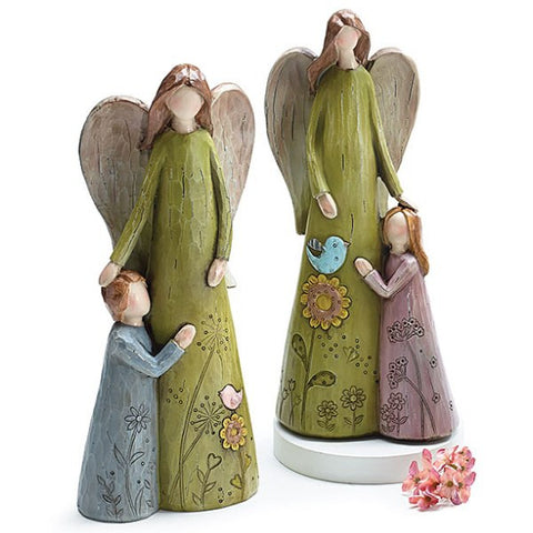 Picture of Hand Painted Mother Angel with Child Resin Figurines