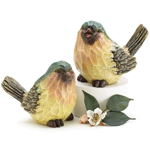 Picture of Hand Painted and Wood Carved Bark-like Blue Bird Figurines