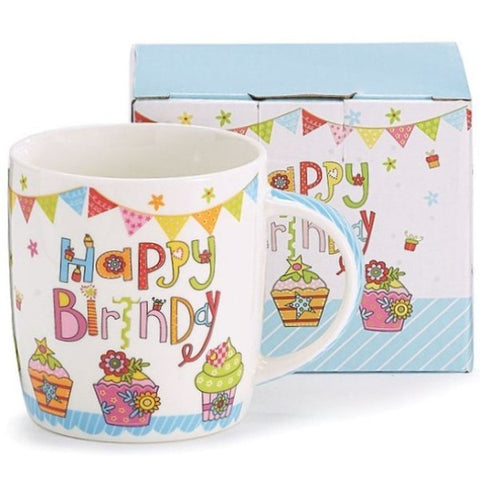 Picture of Happy Birthday Bone China Mugs - 6 Pack