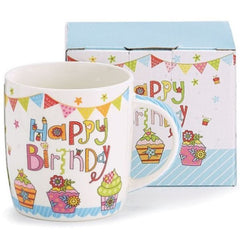 Happy Birthday Bone China Mugs - 6 Pack